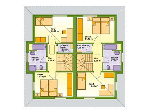 Schwabenhaus Doppelhaus Swing 51 Grundriss OG