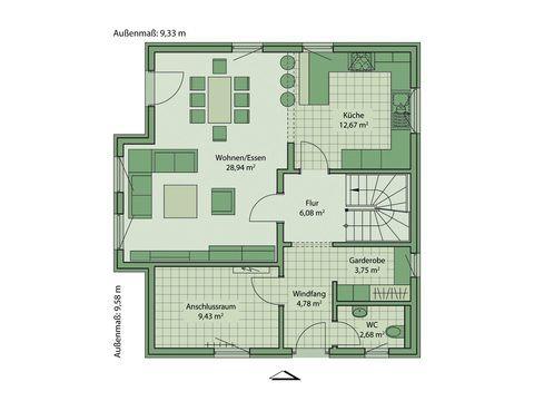 Schwabenhaus Einfamilienhaus Da Capo 68 Grundriss EG