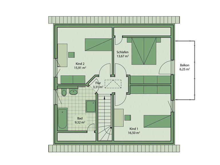 Schwabenhaus Einfamilienhaus Da Capo 70 Grundriss OG