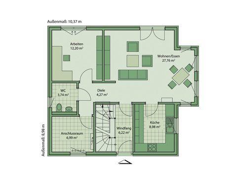 Schwabenhaus Einfamilienhaus Da Capo 70 Grundriss EG