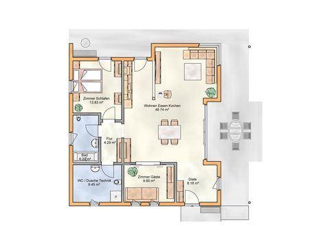 Massivholz-Bungalow 1 Grundriss - Zimmerei Walter Brunthaler