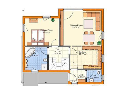 Einfamilienhaus klassisch - Grundriss EG - Zimmerei Walter Brunthaler