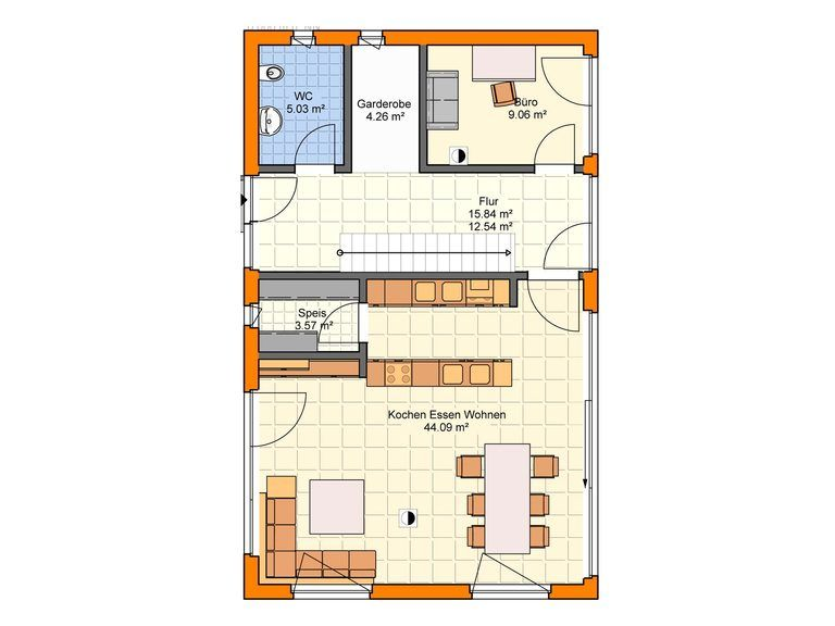 Einfamilienhaus mit zwei Vollgeschossen EG - Zimmerei Walter Brunthaler