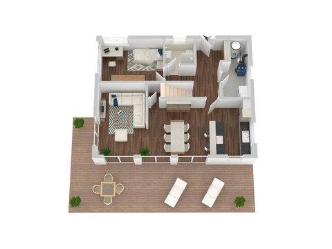 Einfamilienhaus Chausseestraße 157 - Grundriss 3D EG