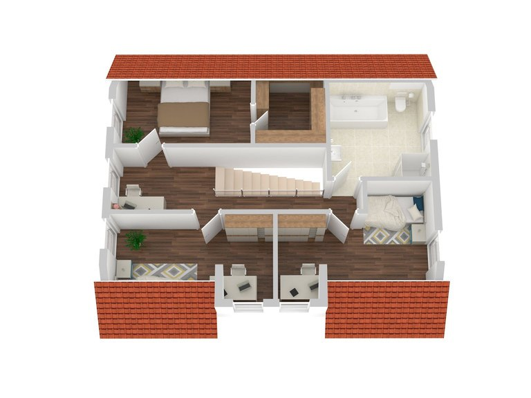 Einfamilienhaus Chausseestraße 157 - Grundriss 3D OG
