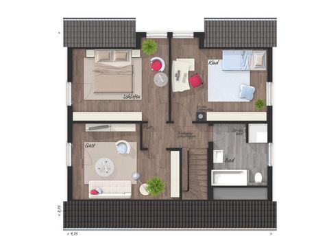 Einfamilienhaus Flair 125 Grundriss DG - VODIES Massivhaus