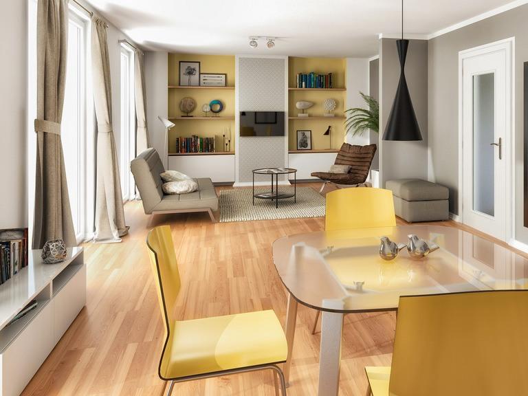 Einfamilienhaus Flair 125 Innenansicht Wohnzimmer - VODIES Massivhaus