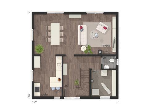 Stadthaus Flair 124 Grundriss EG - VODIES Massivhaus