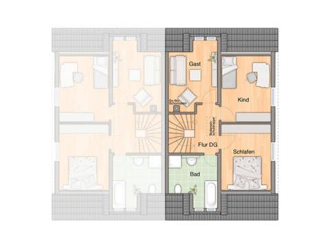 Doppelhaus Duett 115 Grundriss Dachgeschoss