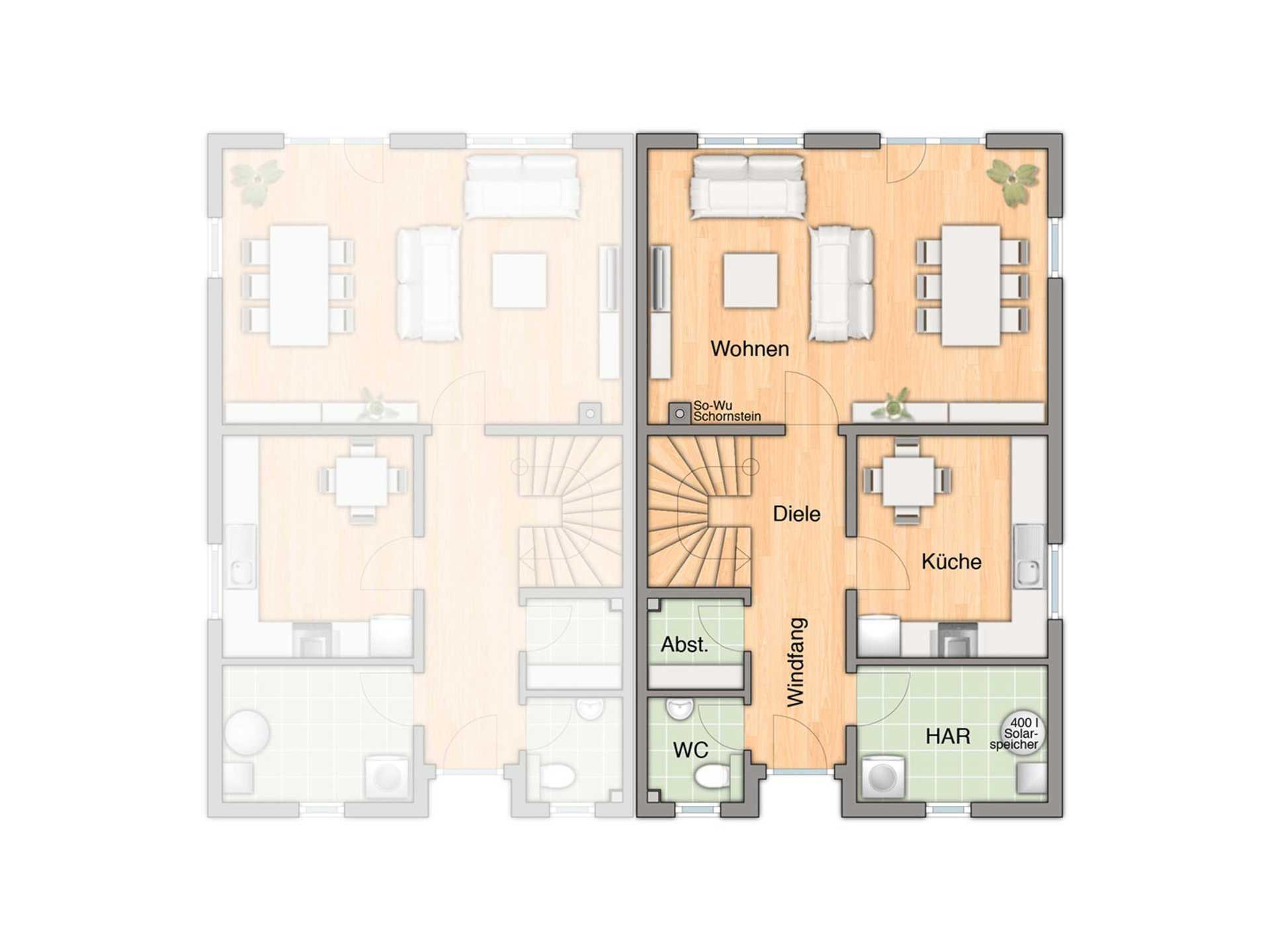 Doppelhaus Duett 115 Grundriss Erdgeschoss