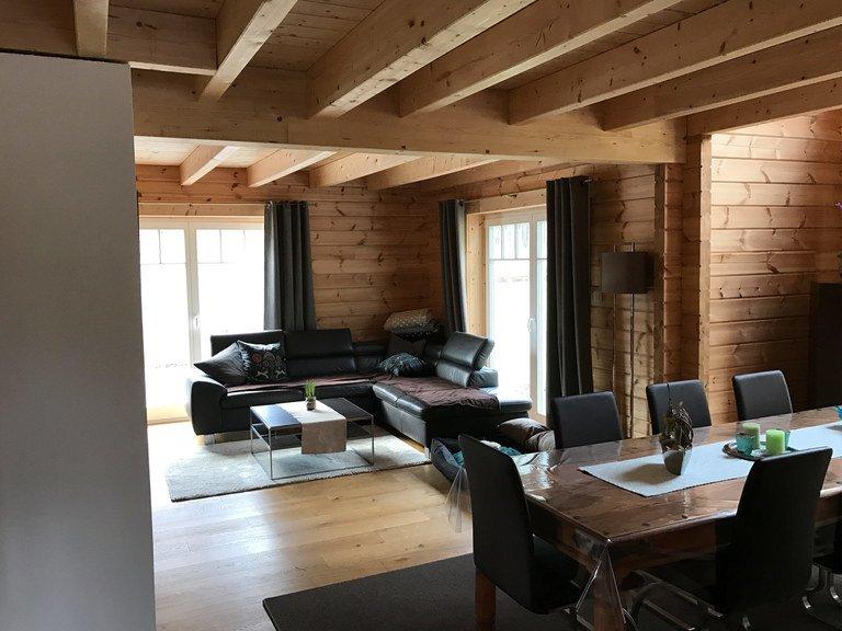 Musterhaus Langenberg - Nordic Haus Blockhäuser, Wohnzimmer