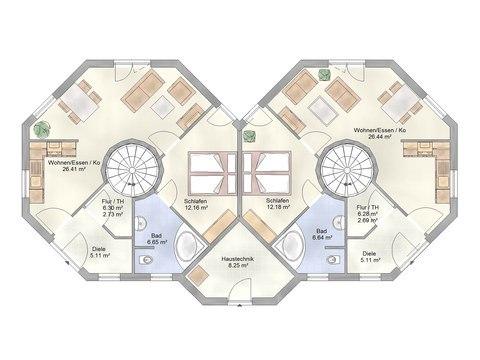 Musterhaus Leuchtfeuer - Ohrdrufer Hausbau - Grundriss EG