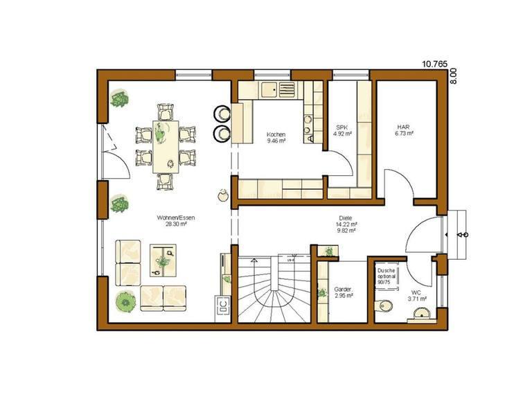 Doppelhaushälfte Clou 136 - Grundriss EG