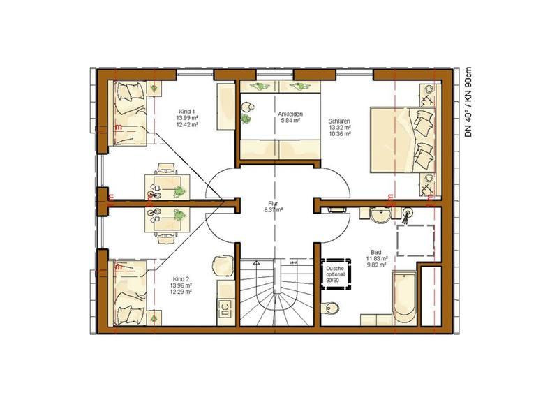 Doppelhaushälfte Clou 136 - Grundriss OG