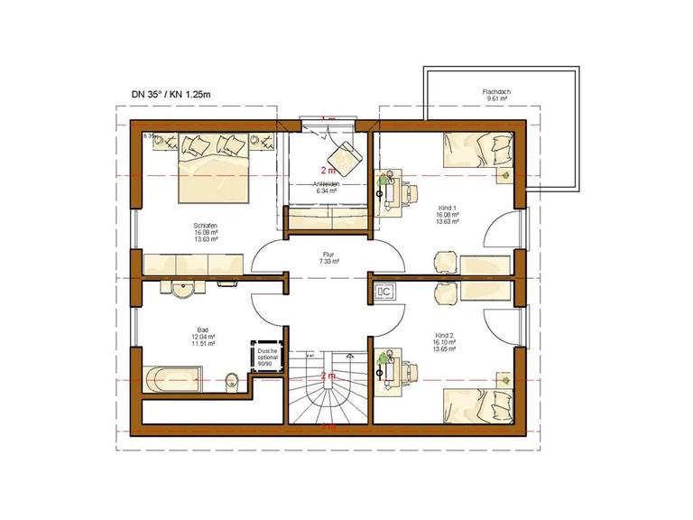 Einfamilienhaus Clou 156 - Grundriss OG