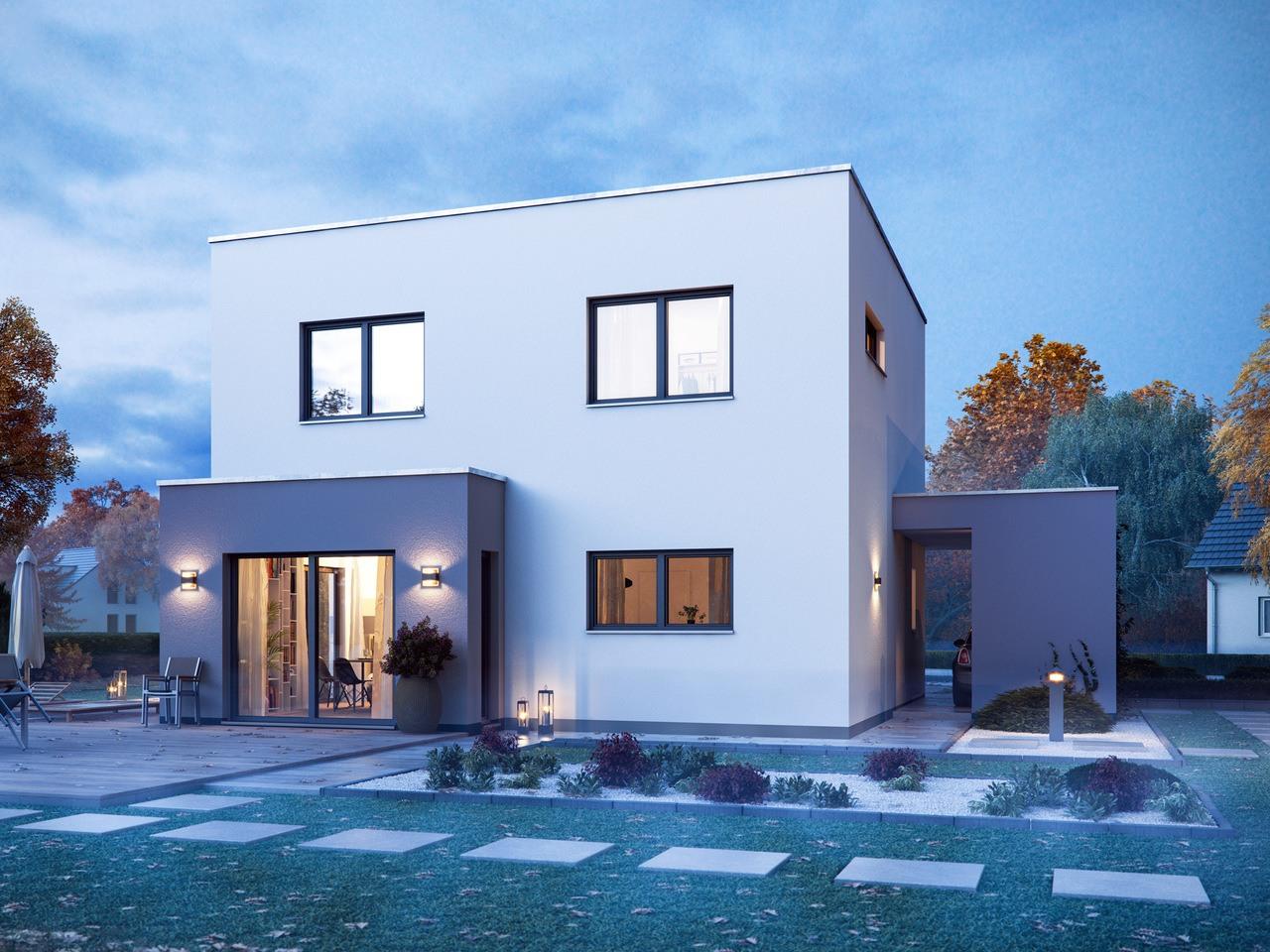 Massa Haus Cube 6 Herbst Garten Abend