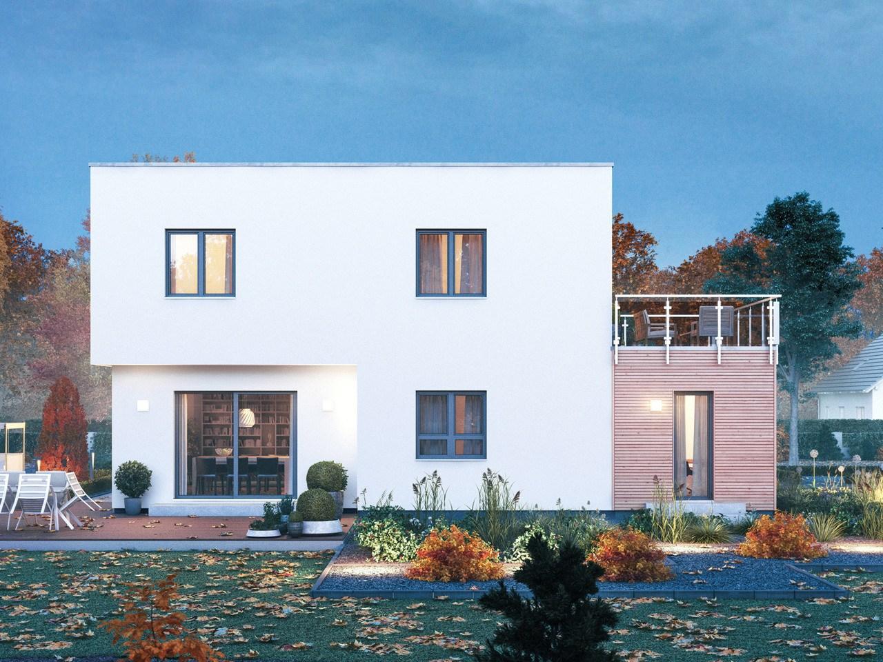 Massa Haus Cube 8 Herbst Garten Abend