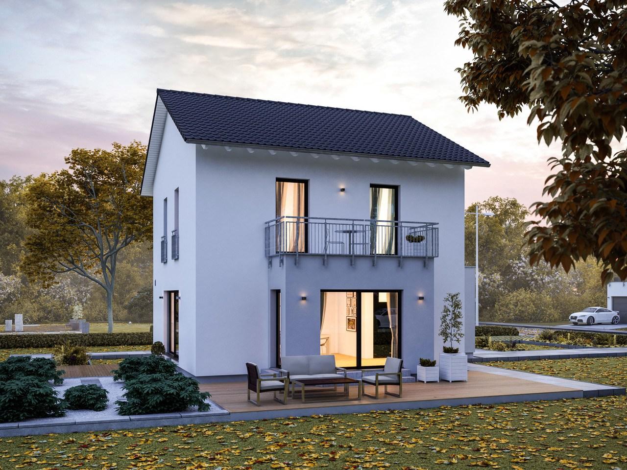 Massa Haus Vario 1V Herbst Garten Abend