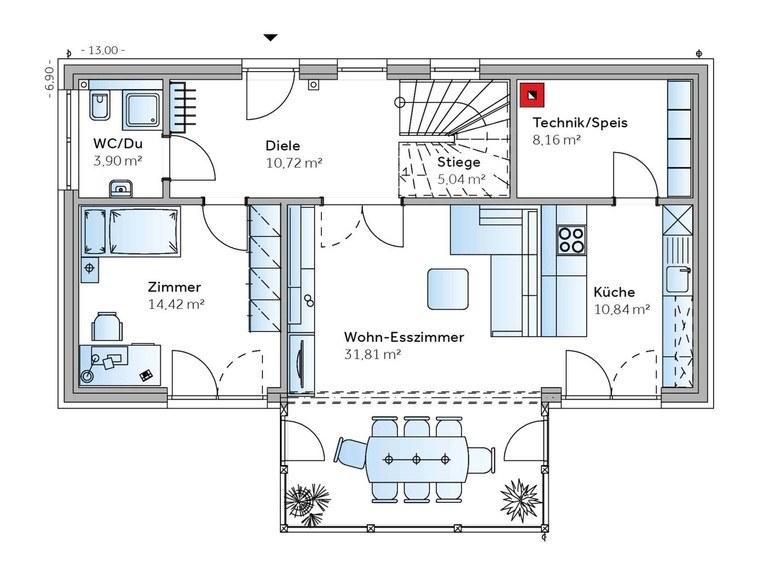 Einfamilienhaus Solair 150 Grundriss EG