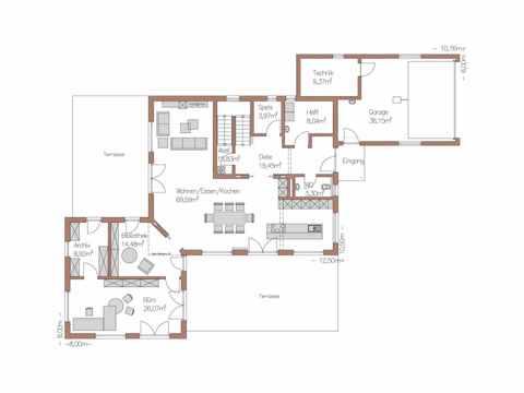 Individuell geplantes Kundenhaus 5 - WOLF System Haus Grundriss EG