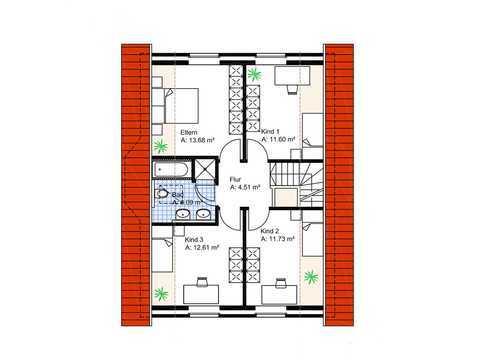 Satteldachhaus mit Dreiecksgaube Grundriss OG