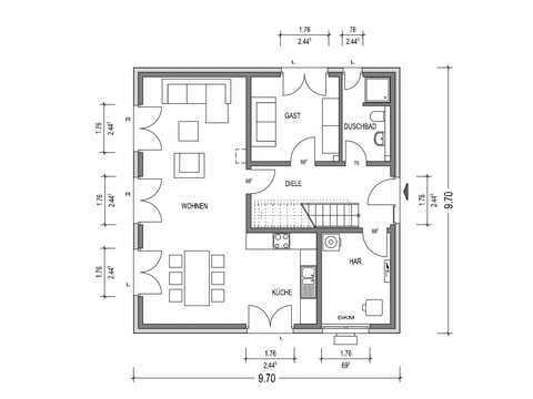Stadtvilla 140 Grundriss EG