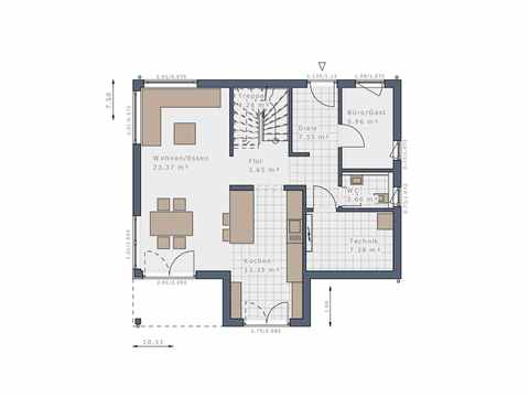 Stadtvilla Solitaire-E-125-E8 - Schwabenhaus Grundriss EG