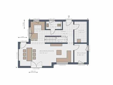 Einfamilienhaus Solitaire-E-125 E7 - Schwabenhaus Grundriss EG
