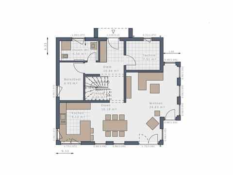 Einfamilienhaus Solitaire-E-145-E4 - Schwabenhaus Grundriss EG