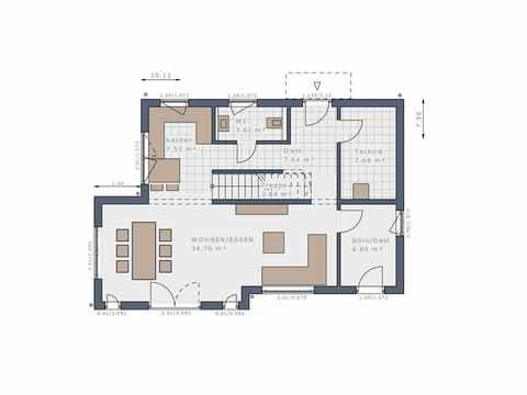 Stadtvilla Solitaire-E-125 E9 - Schwabenhaus Grundriss EG