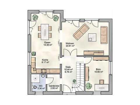 Einfamilienhaus Adora DIALUXE Massivhaus Grundriss EG