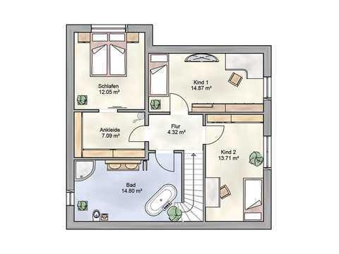 Einfamilienhaus Adora DIALUXE Massivhaus Grundriss OG