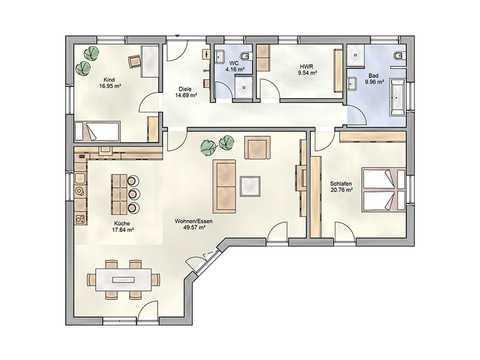 Bungalow Verona von DIALUXE Massivhaus Grundriss