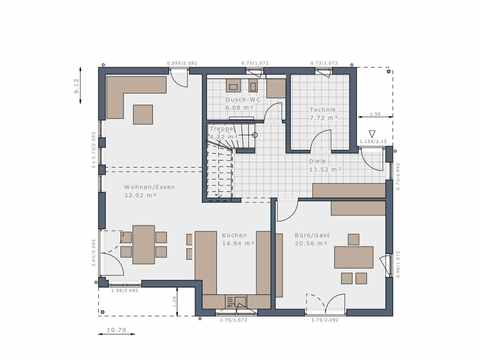Einfamilienhaus Solitaire-E-165 E8 - Schwabenhaus Grundriss EG