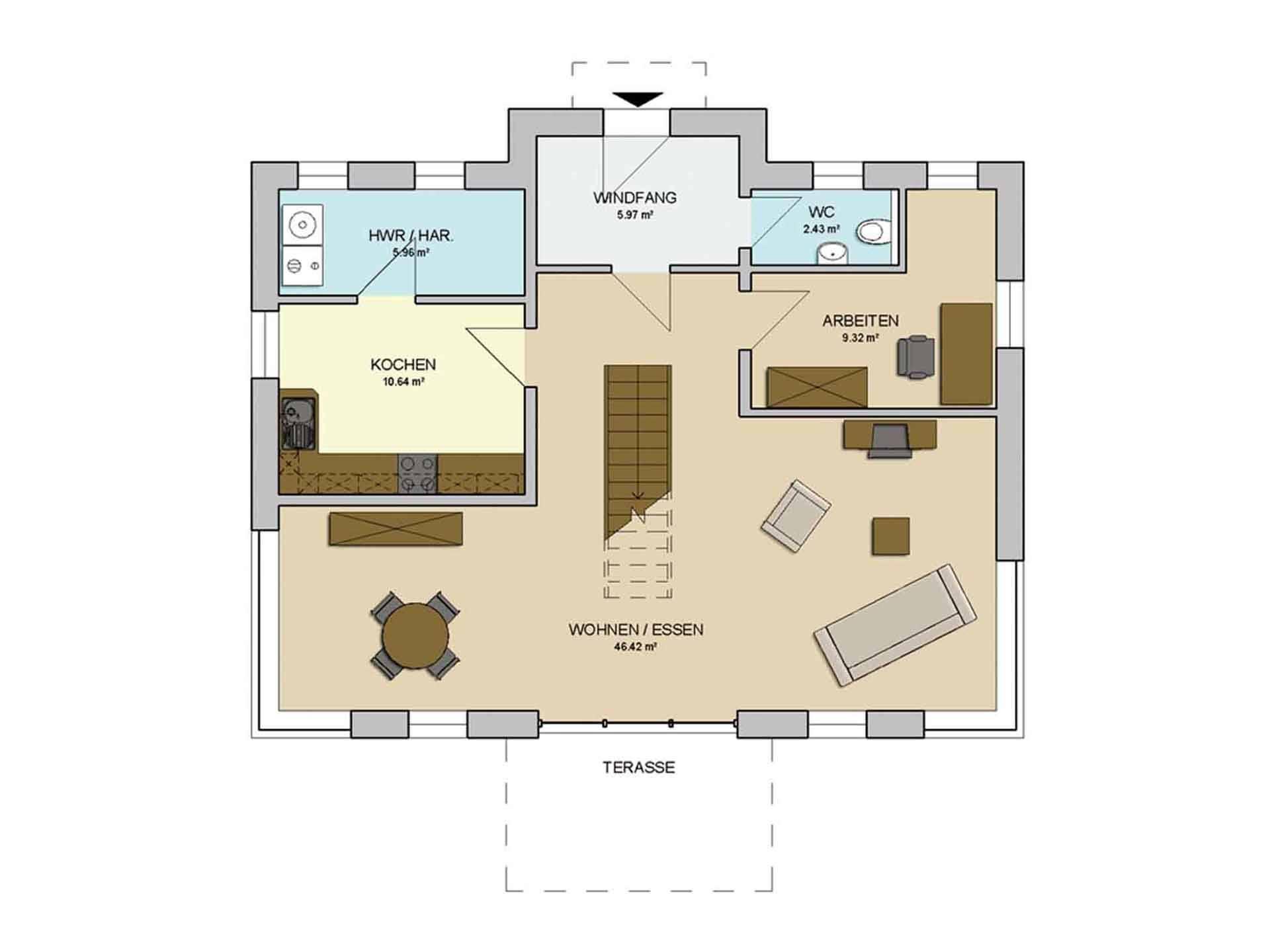 Grundriss Erdgeschoss Haus MODERN 146 von AP:art Haus GmbH