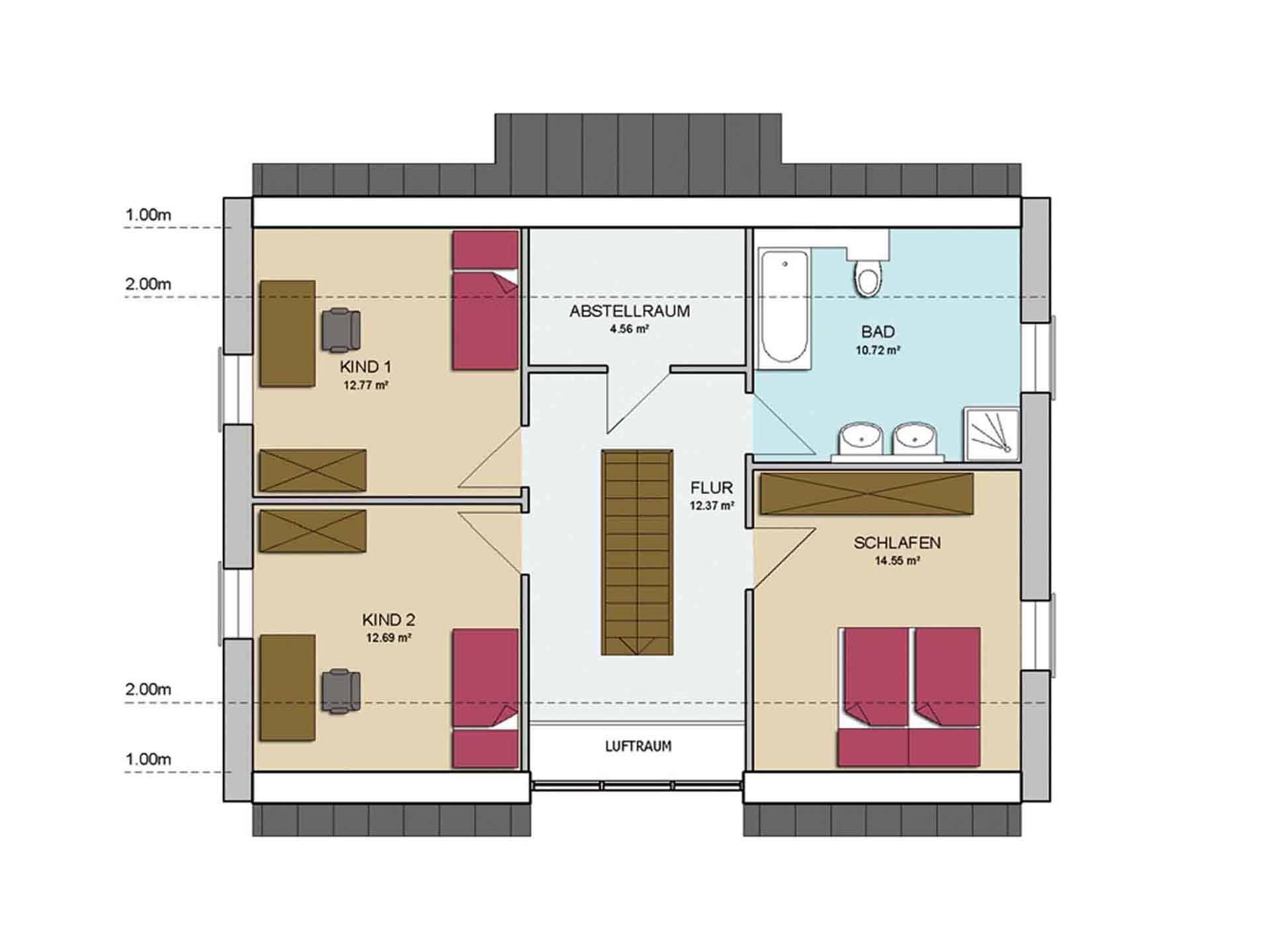 Grundriss Obergeschoss Haus MODERN 146 von AP:art Haus GmbH