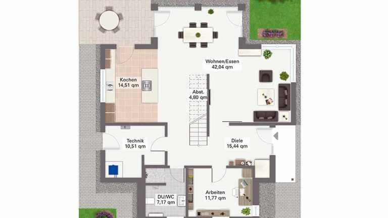 Grundriss des Haus Alona mit Wohn-/Essbereich in T-förmiger Raumanordnung
