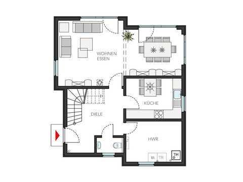 Pultdachhaus ProStyle 127 Grundriss EG