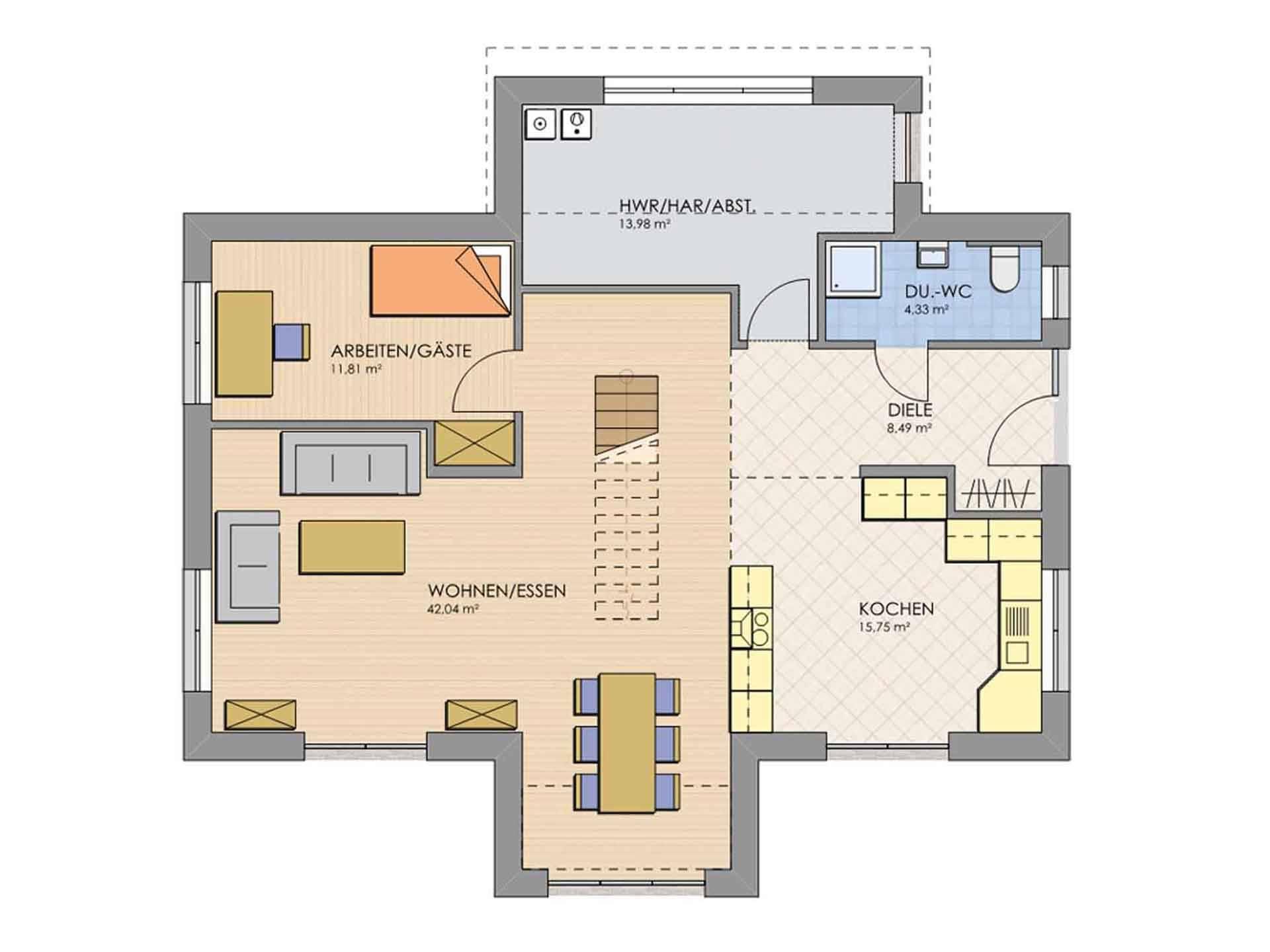 Grundriss Erdgeschoss Haus MODERN 174 von AP:art Haus GmbH