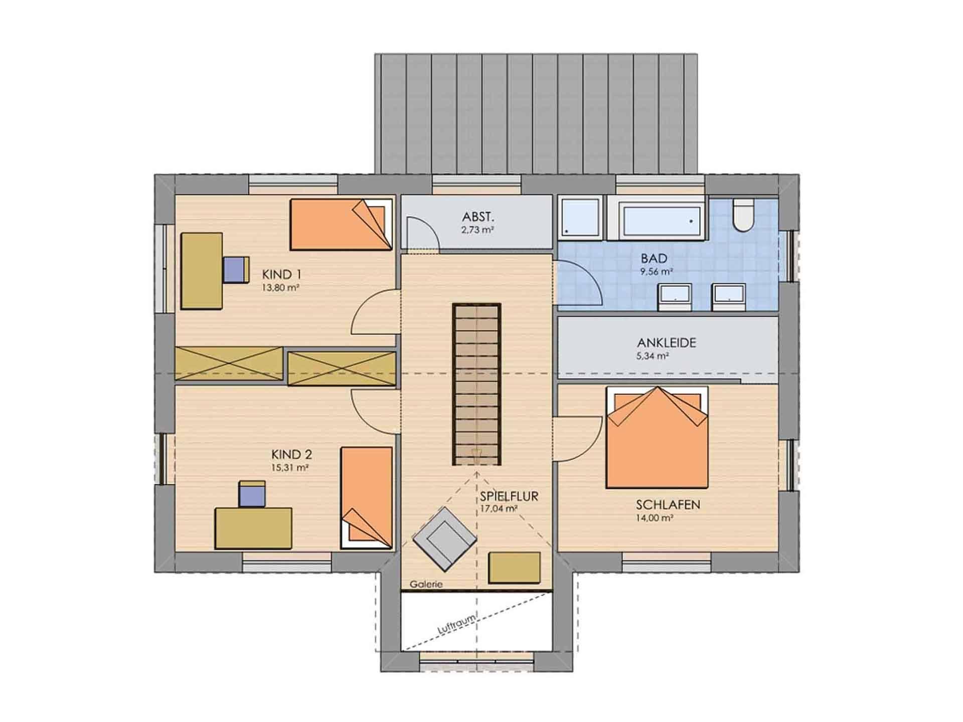 Grundriss Obergeschoss Haus MODERN 174 von AP:art Haus GmbH