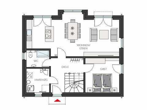Einfamilienhaus ProFamily 143 Grundriss EG