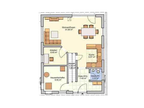 Einfamilienhaus Paris Grundriss EG