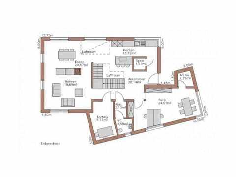 Musterhaus Lumina - WOLF System Haus Grundriss EG