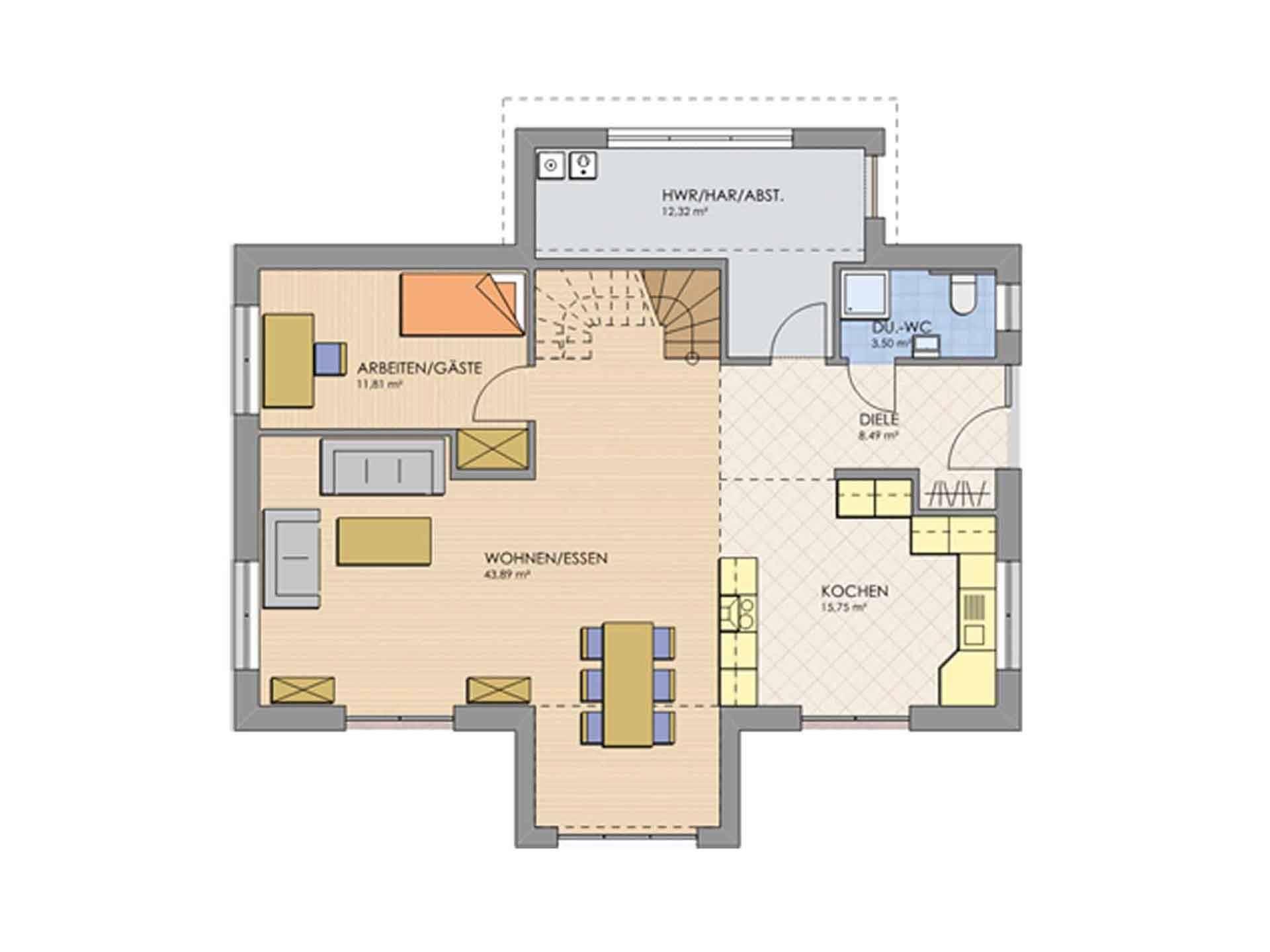 Grundriss Erdgeschoss Haus MODERN 168 von AP:art Haus GmbH