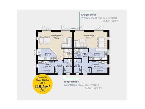 Doppelhaus DH144 Grundriss EG