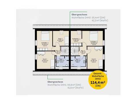 Doppelhaus DH144 Grundriss OG