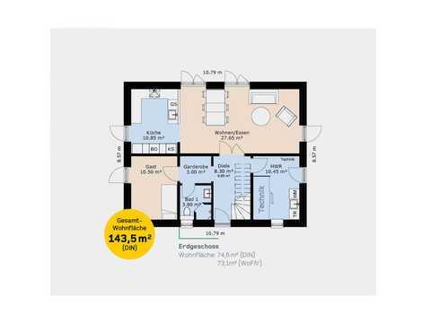 Einfamilienhaus EFH143 Grundriss EG