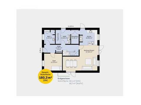 Einfamilienhaus EFH160 Grundriss EG