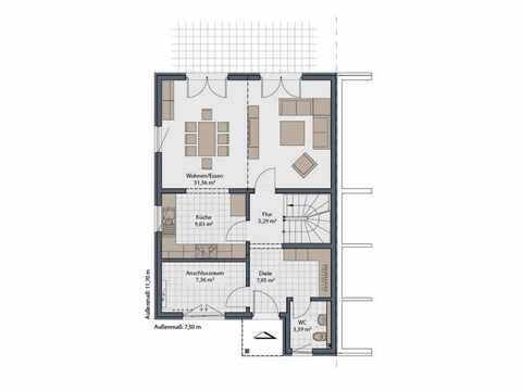 Doppelhaus Duett-D-130 1,5 - Schwabenhaus Grundriss EG