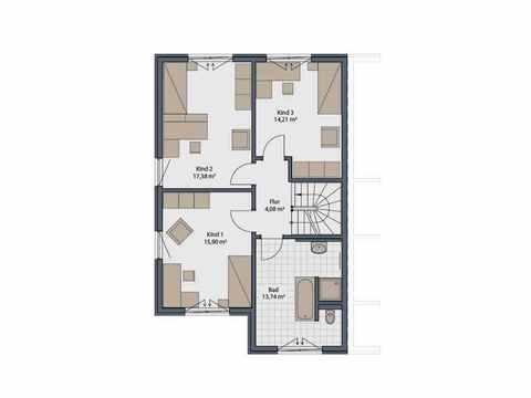 Doppelhaus Duett-D-130 1,5 - Schwabenhaus Grundriss OG